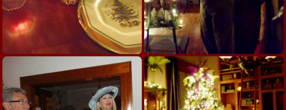 collage of photos for tour showing 2 men, a woman, tree and plate