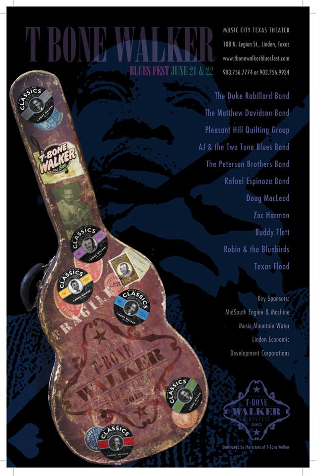 T-Bone Walker 2013 Poster showing old guitar case with world travel stickers. List of musicians and T-Bone Walkers face in the background.