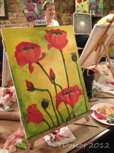 Painting of poppies by Tammy Doriot during the ART Event class on 7/28/12