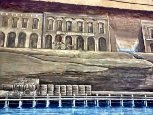 mural with brown buildings
