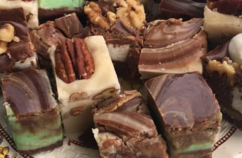 assorted green, cream and brown fudge