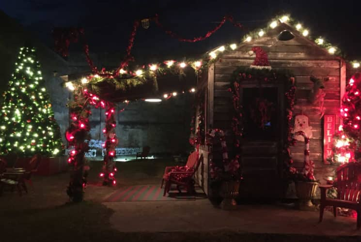 decorated tree and old shack with red lights at night