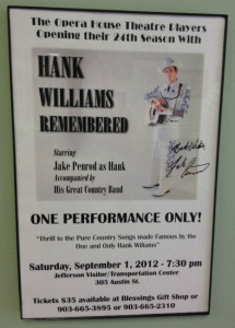 Jake Penrod as Hank Williams Sr. Poster for September 1, 2012 concert in Jefferson Texas