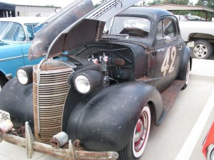 1942 classic car showing the engine compartment