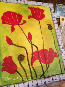 painting of redish poppies on a green and yellow background. The poppies are not completed yet so still show some background through the petals.