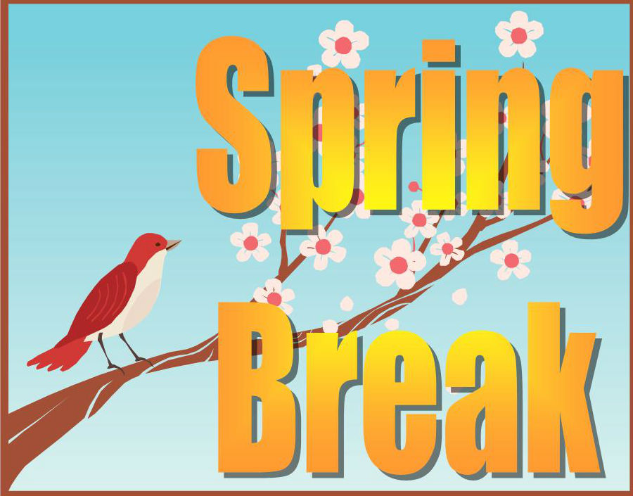 spring break sign with a bird on limb with sring flowers