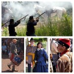 men shooting old guns and people dressed up in civil war attire