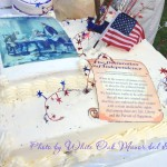 white cake decorated in red, white and blue