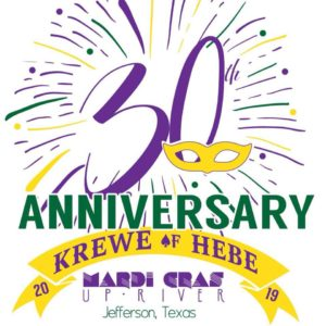 green, purple and yellow poster with 30th Anniversary text for Mardi Gras
