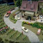 tiny train scene on a winery