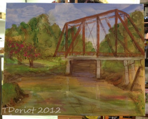 a painting of the old trestle bridge in Jefferson Texas that spans the bayou.