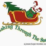 cartoon sleigh with santa legs and tree