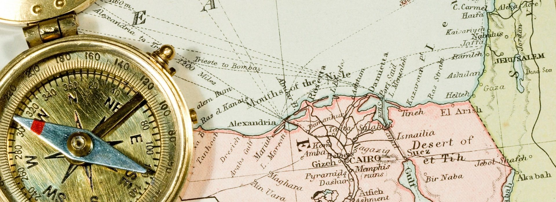 Close up view of a compass and map